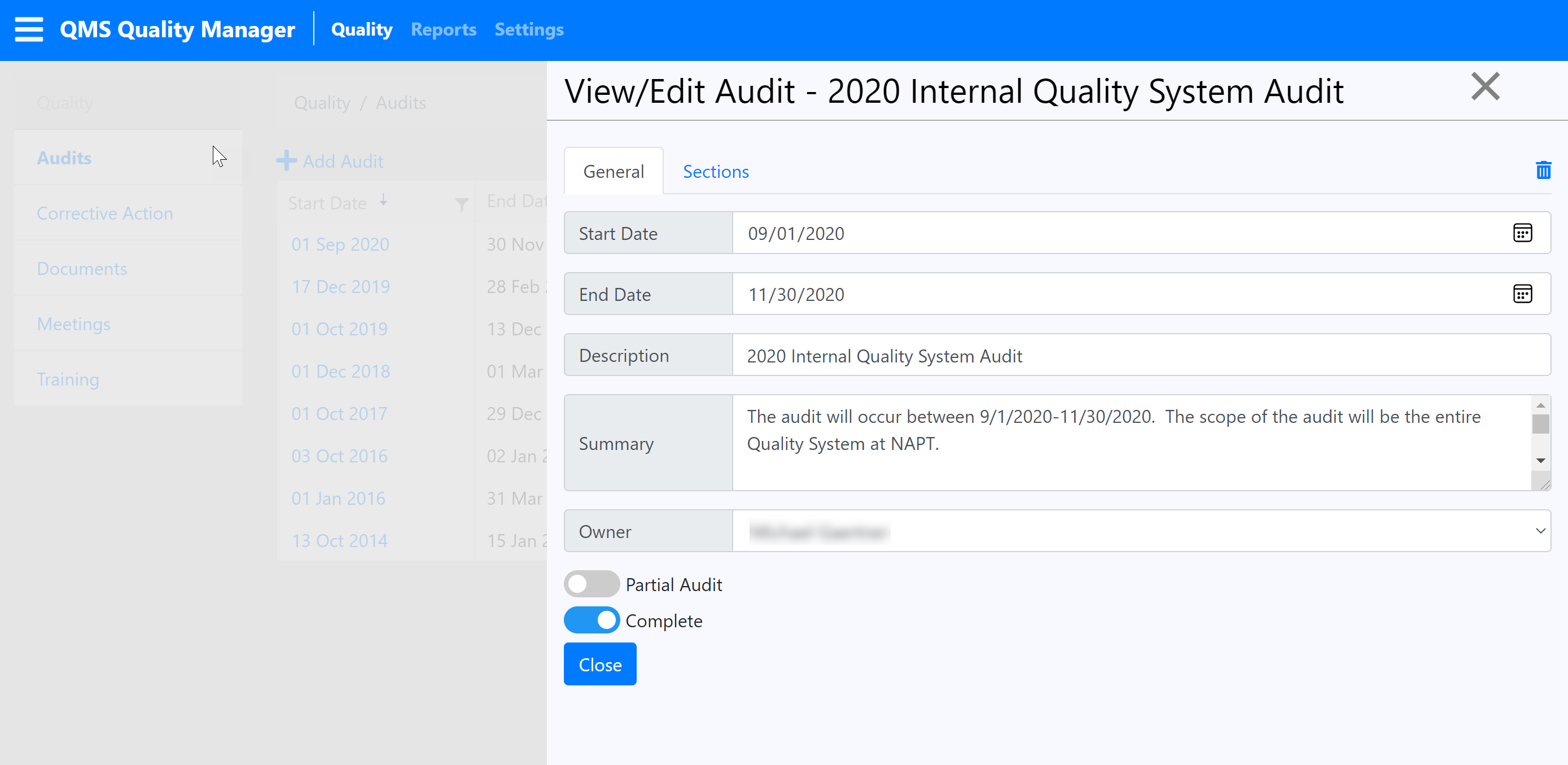 Audit Management Screenshot